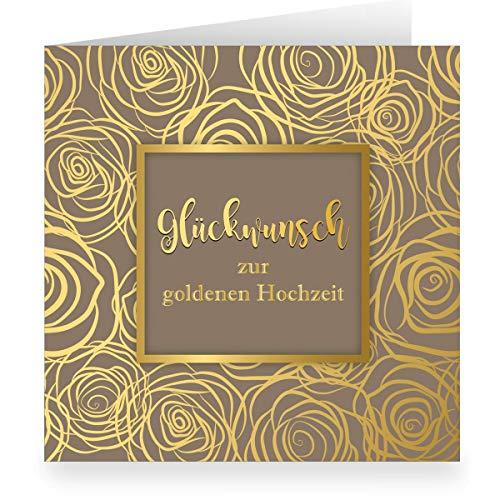 1 Schöne Rosen Blüten Grußkarte edel üppig in Gold Optik innen weiß (quadratisch, 15,5x15,5cm inkl Umschlag), braun: Glückwunsch zur goldenen Hochzeit- große XL Karte für Familie, Mitarbeiter