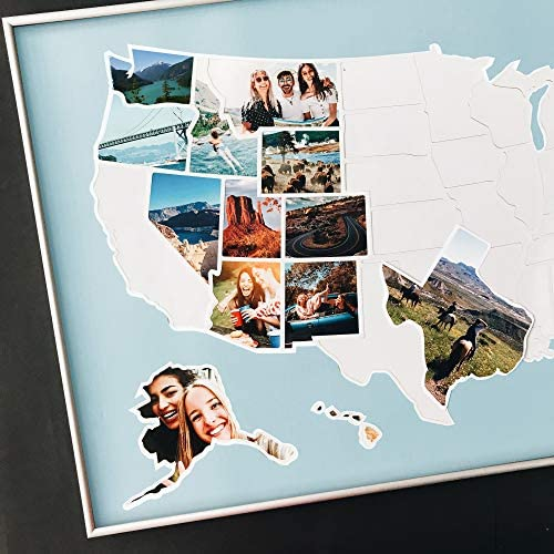 USA Photo Map 50 States Travel Map 24 x 36 in Unframed Made from Flexible Plastic Includes Photo product image