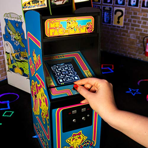 Quarter Arcades Official Ms. PAC-Man 1/4 Sized (17 Inches Tall) Mini Arcade Cabinet by Numskull – Playable Replica Retro Arcade Game Machine – Micro Retro Console