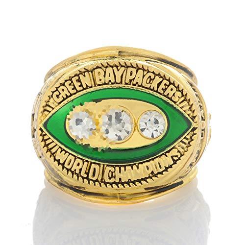 XIKONG Packers Champion Ring, Gunmetal Acabado Pesado Liga Champ Anillo Rugby Anillos...