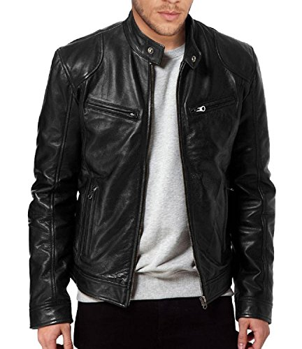 Laverapelle Men's Sword Black Genuine Lambskin Leather Biker Jacket (Black, Extra Large, Polyester Lining) - 1501533