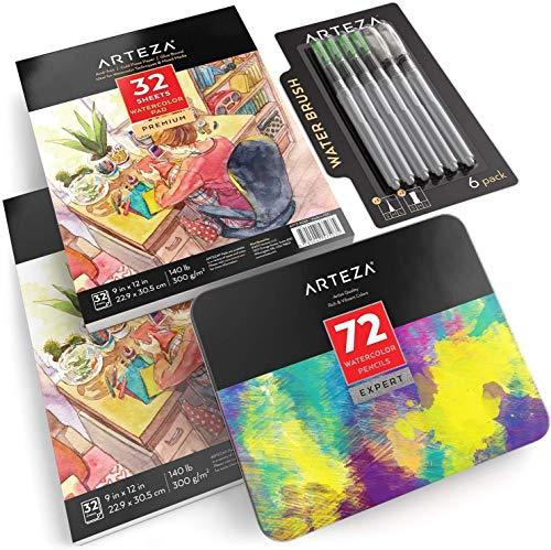 Arteza Watercolor Bundle Set of 3, Professional Watercolor Pencils Set of 72, Watercolor Paper Pads Pack of 2 and Waterbrush pens Set of 6