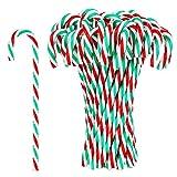 50 Piezas Bastón de Caramelo de Plástico de Navidad Adornos Colgante de Árbol de Navidad para Favores de Decoración de Fiesta de Vacaciones (Color 1)