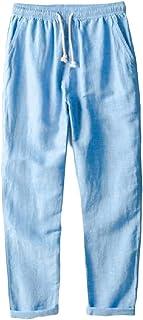 omniscient Men's Cotton Linen Casual Pants Elastic Waist Loose Trousers Beach Pants
