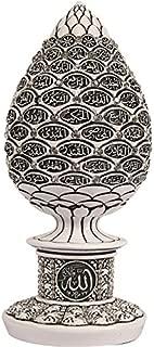 Gunes Islamic Table Decor Gold Egg Sculpture Figure Arabic 99 Names of Allah ESMA Asma al Husna (White, 7.5in)