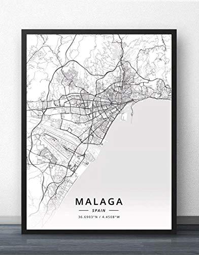 NBHHDH Stampa Su Tela,Nordic Spagna Malaga City Stampa Bianco Nero Sem