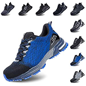 Zapatos de Seguridad Hombre Trabajo Comodos Mujer con Punta de Acero Ligeros Calzado de Industrial y Deportivos Transpirable Azul 43 EU