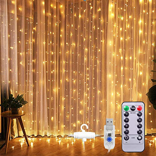 LED Curtain Fairy Lights, Sunnest String Lights 300 3mx3m Window String Lights with 8 Modes Remote Control Timer Waterproof Copper Light for Christmas Decoration(Warm White)
