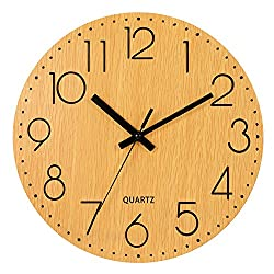 Genbaly 12 Wooden Wall Clock, Arabic Numeral Design Rustic Country Tuscan Style Vintage Decorative Round Wall Clocks (Wood Color)