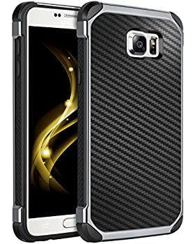 Case for Galaxy Note 5,Note 5 Case,BENTOBEN Shockproof 2 in 1 Hybrid Hard PC Flexible TPU Bumper Chrome Carbon Fiber Texture Protective Case for Samsung Galaxy Note 5 2015 Black