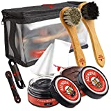8pc Black and Brown Shoe/Boot Cleaning Kit – Polish, Brushes, Cloth, Case - Red Moose