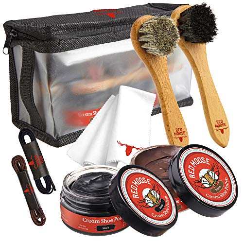8pc Black and Brown Shoe / Boot Cleaning Kit – Polish, Brushes, Cloth, Case - Red Moose