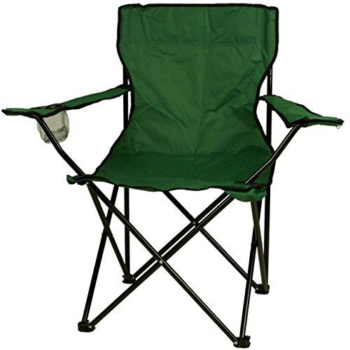 Nexos Angelstuhl Anglerstuhl Faltstuhl Campingstuhl Klappstuhl mit Armlehne und Getränkehalter praktisch robust leicht dunkelgrün
