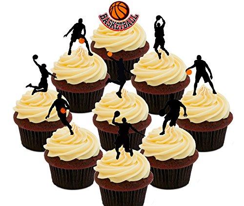 Made4you - Paquete de fiesta de temática de baloncesto, decoración comestible para tartas o magdalenas, Impreso comestible, Pack of 36