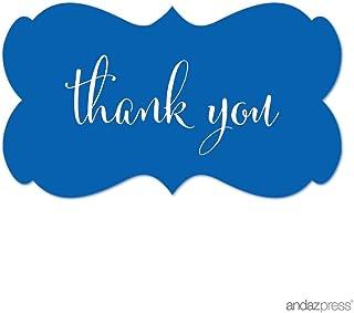 ملصقات ملصقات ملصقات بعلامة مستطيلة الشكل فاخرة من آنداز بريس، شكرًا لك، أزرق ملكي، عبوة من 36 قطعة