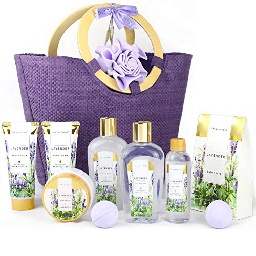 Spa Luxetique Gift Baskets for Women, Lavender Bath Gift Set, Valentine Gifts for Women, Luxury 10 Pcs Home Spa Kit with Bath Bombs, Body Lotion, Bubble Bath, Best Gift Sets for Women.