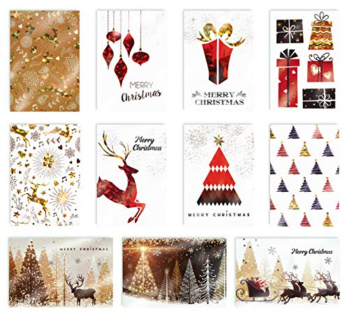 Christmas Holiday Greeting Cards with Gold and Metallic Foil, 100 Pack, 4 x 6 inch, 11 Assorted Designs with 3-D Prism Effect, Blank Inside,by Better Office Products,with Envelopes,100 Christmas Cards