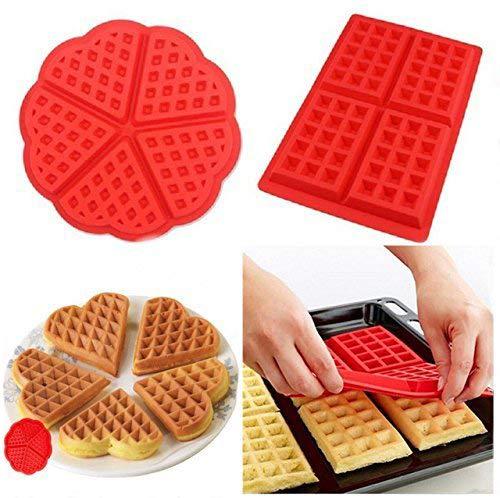 HBlife 2 PC/Set Waffle Mold silicona horno cacerola para hornear galletas para tarta muffin cocina herramientas accesorios de cocina