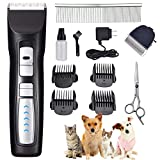 Rision Pet Grooming Clippers -【with 2 Shaving Heads】 Cordless Dog Clippers, 2 Speed(5500 RMP,...