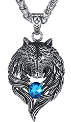 "Aoiy Men's Stainless Steel Tribal Wolf Biker Pendant Necklace, 24"" Link Chain"