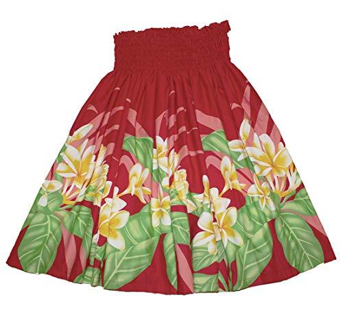 夏威夷pau hula裙子夏威夷印花红色花或蓝色花妇女(红色)