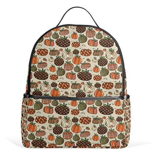 Fall Things Pumpkins On Cappuccino Creme Rucksack für Herren Damen Rucksack Schultertasche Daypacks Teenager Reisetasche Casual Daypack für Reisen