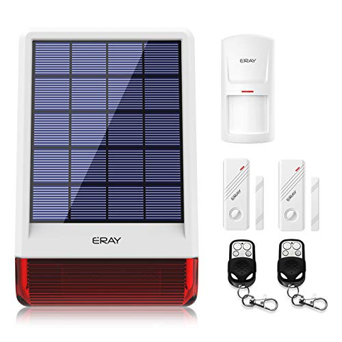 ERAY JD-W06 Home Burglar Security Alarm Siren Solar Powered with Strobe Outdoor, DIY Driveway 120dB Alert System with 1 Motion Detector 2 Door Sensors and 2 Remote Controls