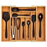 Ohwin Bamboo Kitchen Drawer Organizer - Expandable Silverware Organizer/Utensil Holder and Cutlery Tray with Grooved Drawer Dividers for Flatware and Kitchen Utensils (9 Slots)