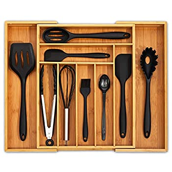 Ohwin Bamboo Kitchen Drawer Organizer - Expandable Silverware Organizer/Utensil Holder and Cutlery Tray with Grooved Drawer Dividers for Flatware and Kitchen Utensils  9 Slots