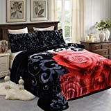 JML Sherpa Flannel Blanket 3-Piece, Winter Warm Bed Blanket with 2 Pillow Shams- Soft, Warm, Korean Style Printed Embossed Reversible Plush Bed Blanket, Black King Size (79' x 91')