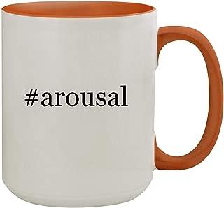 #arousal - 15oz Hashtag Colored Inner & Handle Ceramic Coffee Mug, Orange