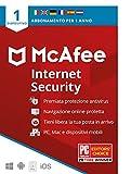 mcafee internet security 2020 1 dispositivo, 1 anno, software antivirus, gestore di password, pc/mac/android/ios, edizione europea, codice di attivazione via posta