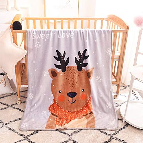 """FairyShe Cartoon Kids Throw Blanket,Animal Deer Print Baby Fleece Blanket, Children Plush Blanket,40"""" x 55"""" Coral Velvet Fuzzy Blanket for Crib Bed Couch Chair Fall Winter Spring Living Room (Deer)"""