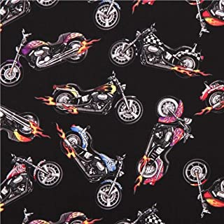 Black Motorcycle Harley Chopper Fabric by Elizabeth's Studio USA (per 0.5 Yard Multiples)