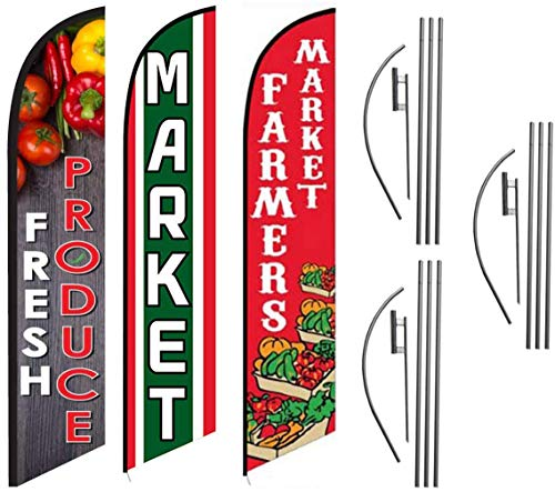 Fresh Produce Market Farmers Market Restaurant Advertising Feather Flag Kits Package, Includes 3 Banner Flags, 3 Flag Poles, and 3 Ground Stakes