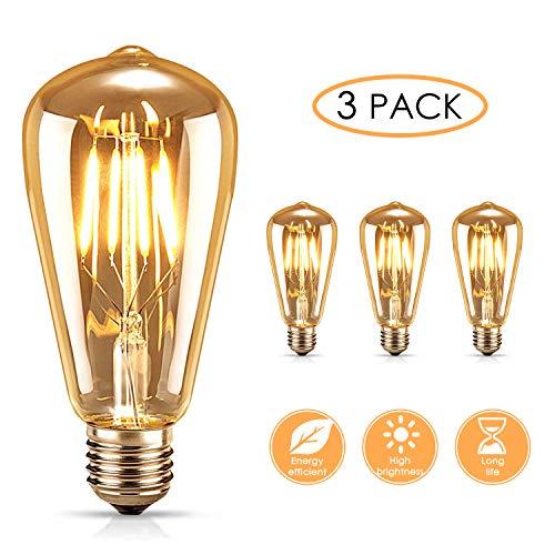AODOOR Edison Vintage Glühbirne, Warmweiß Glühbirne Vintage Antike Glühbirne, Edison LED Lampe E27 4W Retro Filament Lampe Ideal für Nostalgie und Retro Beleuchtung im Haus Café Bar usw, 3 Stück