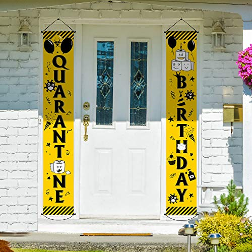 2 Pieces Happy Quarantine Birthday Party Decorations Quarantine Theme Porch Sign Welcome Banner Hanging Decorations Set for Indoor Outdoor Quarantine Birthday Supplies (Yellow and Black)