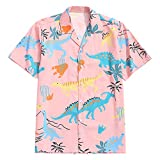 ZAFUL Men's Casual Short Sleeves Animal Dinosaur Print Shirt Button Up Shirt (Orange Pink, 2XL)