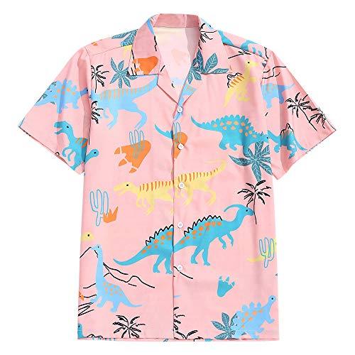 ZAFUL Men' s Regular-fit Casual Short Sleeves Button Up Shirt Animal Dinosaur Print Tropical Hawaiian Beach Shirt Orange Pink