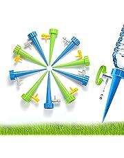 Kjzeex Zelfbewateringsspikesysteem, 12 stuks, automatische irrigatieset met langzaam ontgrendelbaar regelventiel, druppelirrigatie, voor planten, bloemen of groenten, geschikt voor alle flessen