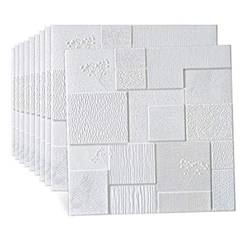 RAIN QUEEN クッションシートレンガ調 花柄 壁紙シール 防音シート 無地 白 壁紙 断熱 クッションブリック 3D立体 発泡スチロール 防水・防湿 部屋 壁 貼る のり付き 70cm×70cm大判 10枚セット リビング 寝室 キッチン 洗面所に