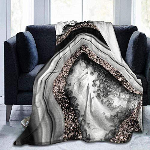 CVMFE Throw Blanket,Agate Rose Gold Glitter Glam Gem Decor Art,Warm Ultra Soft Flannel Fleece Light Weight Blanket Sofa Bed Living Room Bedroom for Adult Children
