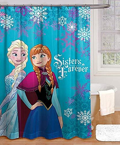 Jay Franco und Sons Disney Frozen Sisters Forever Duschvorhang 100prozent Poyester 182,9 x 182,9 cm