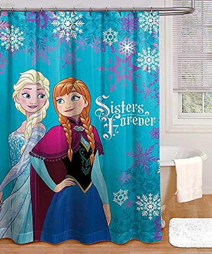 Jay Franco und Sons Disney Frozen Sisters Forever Duschvorhang, 100prozent Polyester, 183 x 183 cm