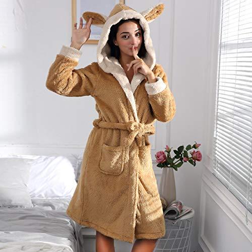 OLGKJ Winter Bademantel Frauen Nette Kaninchen Ohren Mit Kapuze Coral Fleece Roben Weibliche Verdicken Warme Samt Morgenmantel