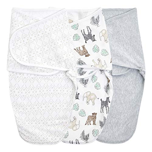 aden + anais Essentials Easy Wrap Swaddle, Cotton Knit Baby Wrap, Newborn Wearable Swaddle Sleep Sack, 3 Pack, Toile, 0-3 Months, Small/Medium