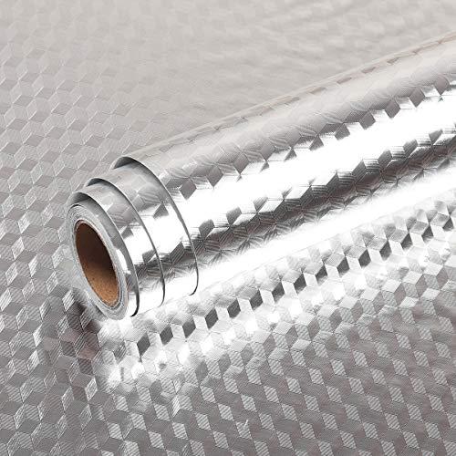 Livelynine 40CMX10M Klebefolie Küche Wand Tapete Küche Abwaschbar Küchenrückwand Folie Selbstklebende Küchenfolie Hitzebeständig Küchenklebefolien Metallfolie Küchenspiegel Rückwand Aluminium Folie