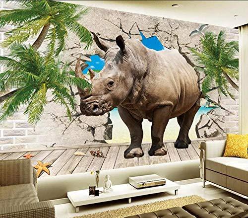 3D Fototapete 3D Effekt Nashorn, Das Die Wand Durchbricht 400 x 280 cm Tapete 3D Wandbild Bild Tapeten Wandtapete Dekoration Wandbelag Wanddeko