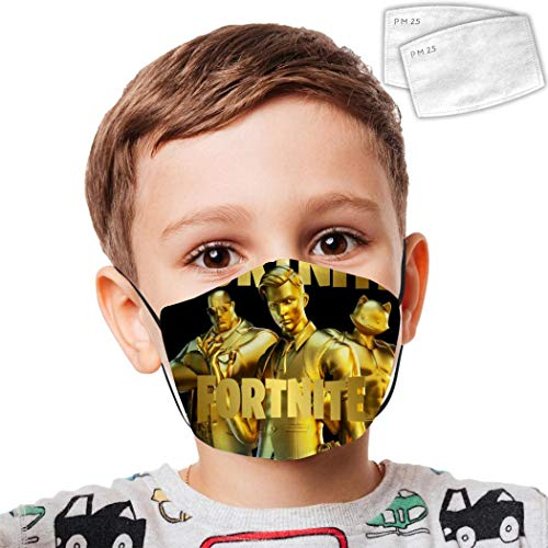Unisex Kids Face Covering Mask f-or-TN-ite Reusable Auti Dust Masks For Boys And Girls With Filters