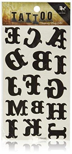 SPESTYLE Impermeabile Tatuaggio temporaneo Non tossico stickersWaterproof Temperatura Tatuaggi Lettere Totem Nero dell'alfabeto dalla A alla M